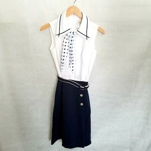 1960s Norman Watt Knits Navy & White Suit